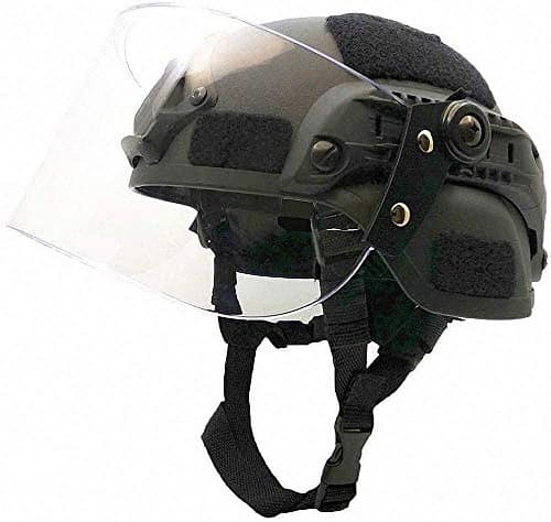 LEJUNJIE Tactical MICH 2000 Fast Helmet with Clear Riot Visor Face Shield Sliding Goggles for Airsoft Paintball CS War Games Outdoor Sports.